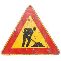 signo de obras viales aislado foto