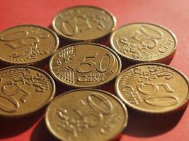 Moneda de 50 centavos, unión europea foto