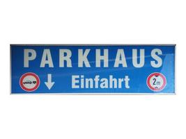 German sign isolated over white. Parking entrance photo
