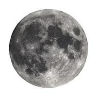 Luna llena vista con telescopio aislado sobre blanco foto