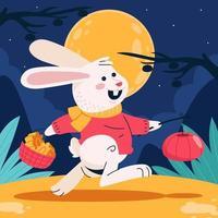 Rabbit Brings Mooncake and Lantern on Mid Autumn vector