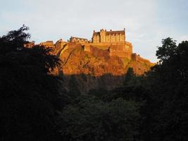 Edinburgh castle at sunset photo