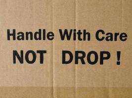 Corrugated cardboard with fragile label photo