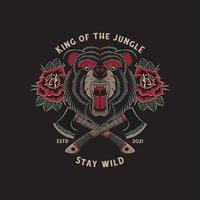 wild bear roaring and crossed axes with traditional tattoo vector