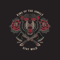 oso salvaje rugiendo y hachas cruzadas con tatuaje tradicional vector