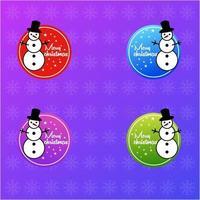 Christmas snowman logo vector