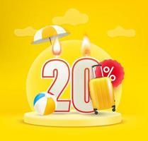 Banner de venta de temporada de verano. veinte por ciento de descuento vector