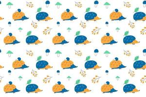 Seamless pattern of blue and orange hedgehogs vector