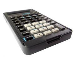 calculadora aislado sobre blanco foto