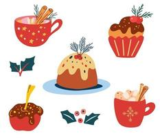 Delicious Christmas sweets and drinks. Traditional holiday treats. vector
