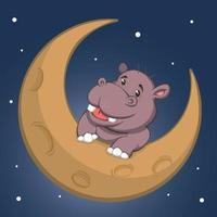 Cute Cartoon Hippo On Crescent Moon vector