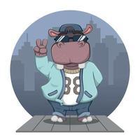 Cute Cartoon Hip Hop Hippo With City Background vector