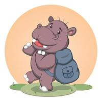 Cute Cartoon Hippo With Back Pack vector
