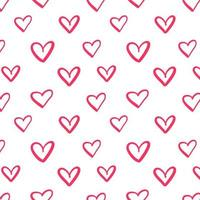 Repeated outlines of hearts drawn by hand. Romantic seamless pattern. vector