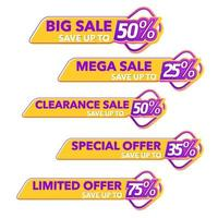 Sale of Special Offers and Discount promo Tag vector