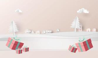 christmas event and town snow tree paper art background vector