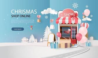 paper art shopping online on smart phone chrismas day winter season vector