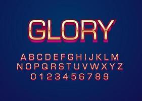 Glory gold red custom alphabet font effect vector