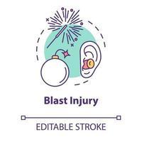 Blast injury, shrapnel wound concept icon vector