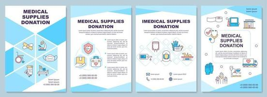 Medical and imedical supplies donation brochure template. vector
