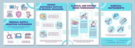 Medical supply donation categories brochure template. vector