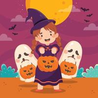 Little Girl Doing Trick or Treats on Halloween vector