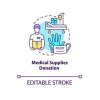 Medical supplies donation concept icon. vector