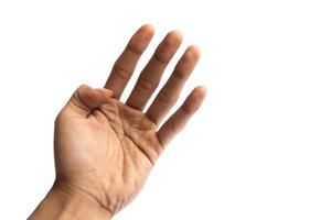 mano del hombre aislado sobre un fondo blanco foto