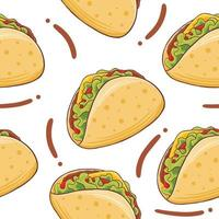 Taco Seamless Pattern in flat design style vector