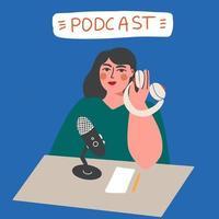 concepto de podcast. podcaster hablando en micrófono vector