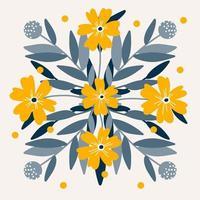 beautiful flower symmetry  folk art card  vector illustration
