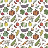 Freehand drawing vegetables. Vegetables seamless pattern. vector