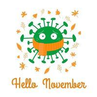 Hola noviembre. dibujos animados de bacterias coronavirus en pañuelo naranja vector