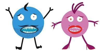 familia de monstruos. marido y mujer enojados y asustados vector