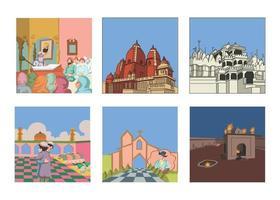 Place of worship kids book illustration set gurudwara, temple vector