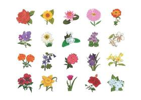 Flowers kids book illustration set, rose, sunflower, lotus vector