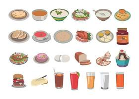 Food and beverages kids book illustration set - Roti, pulse, rice vector