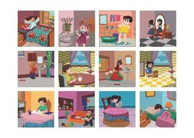 Good habits kids book illustration set, get up, early in the morning vector