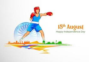 Indian sportsperson Welterweight Boxing in championship vector
