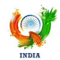 bandera india tricolor para el feliz día de la independencia de la india vector