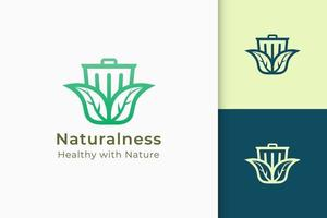 Reuse or recycling logo in leaf and trash represent hygiene or  growth vector