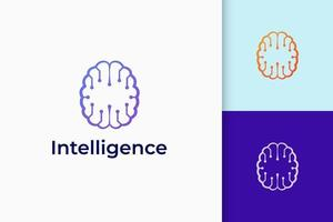 Technology or science logo in brain shape represent knowledge and idea vector