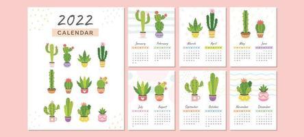 Cactus Theme Calendar 2022 Template vector