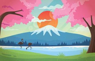 Mount Fuji with Sakura Tree Landscape Background vector