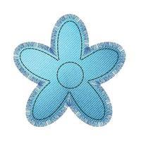 Denim patch in the shape of a flower with fringe. Light blue denim. vector