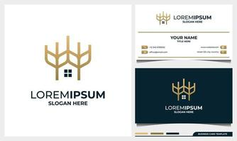 wheat and home logo design and business card template vector