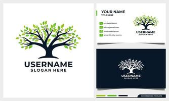diseño de logotipo de árbol de la vida, ilustración de árbol de naturaleza con tarjeta de visita vector