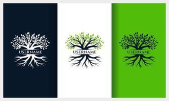 diseño de logotipo de árbol de la vida, plantilla de logotipo de ilustración de árbol de naturaleza vector