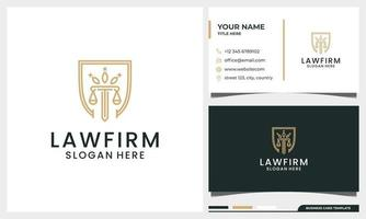 Law firm attorney pillar logo with shield concept and line art style vector
