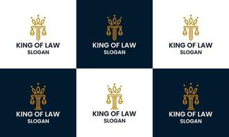 Law firm attorney pillar logo template with line art and crown concept vector